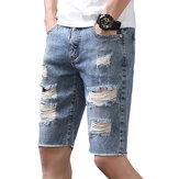 ModafurosrasgadosJeansverãomagro desfiado Jeans