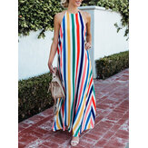 Women Striped Halter V-neck Sleeveless Dress