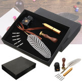 Antique Feather Writing Quill Pen Ink Seal Wax Set Collection Stationery Gift