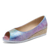 LOSTISY Women Colorful Espadrille Comfy Wedge Peep Toe Platforms