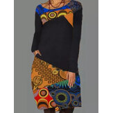Women Ethnic Pattern Patchwork Casual Print Round Neck Long Sleeve Dress