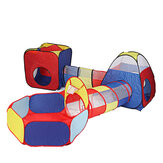 5-in-1 Kids Play Tent Tunnel Ball Pit Set Children Playhouse Folding Portable Baby Game Tent Girls&Boys Gifts