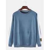 Męskie bawełniane bluzy z aplikacją w paski z okrągłym dekoltem i raglanowymi rękawami