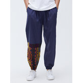 Men Cotton Geometric Patchwork Loose Casual Jogger Pants