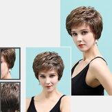 Krótka peruka z prawdziwymi ludzkimi włosami, brązowa, mieszana, teksturowana Wygodna i naturalna