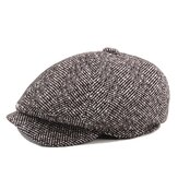Mens Unisex Cotton Vintage Cappello Octagonal Cap Stripe Gentleman Newsboy Berretto Cappello