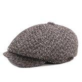 Mens Unisex Vintage Cotton Mũ hình bát giác Mùa đông sọc quý ông Newsboy Mũ nồi