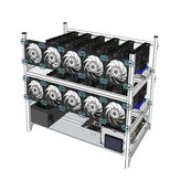 Aluminum Open Air Mining Rig Stackable Frame Case With 10 LED Fans For 12 GPU ETH