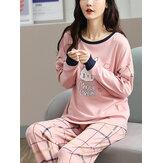 Donna Cartoon Rabbit Print Pullover Plaid Elastico in vita Pantaloni Rosa Set pigiama da casa