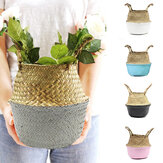 Decoration Storage Basket Hand Folded Seaweed Woven Bamboo Woven Rattan Flower Basket Flower Arrangement