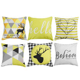 Geometric Cushion Covers Yellow Plaid Stripes Print Pillow Case For Home Chair Sofa Decoration