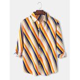 Camisas casuais de manga comprida masculina Design listra diagonal