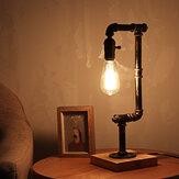 E26 Ferro industrial retro candeeiro de mesa de madeira sala de estar decoração luz de cabeceira