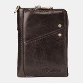 Men Genuine Leather RFID Blocking 12 Cards Slots Wallet Zipper Coin Bag Card Holder