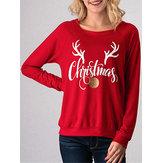Casual Women Deer Horn Letter Printed Long Sleeve Sweatshirt