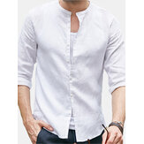 Men's Soft Linen Short Sleeve Solid T Shirts Casual Loose Beach Holiday Tops Shirts