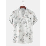 Mens Coco Trees Light Impresso Turn Down Collar Pocket Hawaii Casual Camisas de manga curta