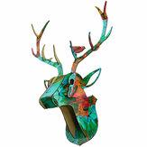 3D деревянный DIY животное голова оленя головоломка художественная модель домашний офис настенное украшение
