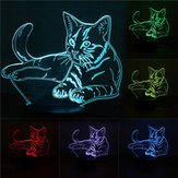 3D Cute Кот Night Light USB Charge Touch Control 7 Изменение цвета LED Стол Лампа Room Decor Gift
