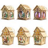 Noel Ahşap Noel Işıklı Ahşap Kabin Yaratıcı Montaj Küçük Ev Dekorasyonu Aydınlık Renkli Kabin