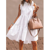 Women Solid Color Ruffles Trim Sleeveless Simple Midi Dresses