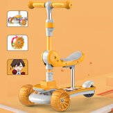 3-in-1 Children's Scooter Multifunctional Baby Walker Fashion Three-wheel Scooter With Mobile Seat And Flashing Wheels