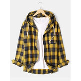 Mens Plaid Cotton Button Up Casual Drawstring Hooded Shirts With Pocket