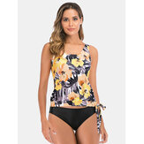 Plus Size Women Floral Tropical Print Tankinis With Three Kinds Of Black Bottom