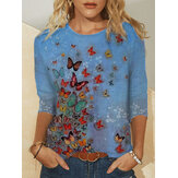 Plus Size Women Butterflies Printed O-Neck Casual Long Sleeve Blouses