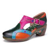 SOCOFY vendimia Cuero Recortes de empalme floral Costuras Gancho Zapatos de salón de tacón grueso con hebilla de lazo