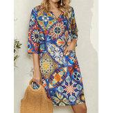 Women V-Neck Ethnic Print 3/4 Sleeve Vintage Mini Dress With Pocket