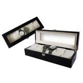 Scatole per orologio da caffè a 6 slot con cuscino per finestra, gioielli Display Scatola di immagazzinaggio