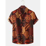 Ethnic Style Bandana Print Mens Lapel Collar Short Sleeve Shirts