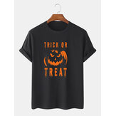 Mens 100% Cotton Letter & Pumpkin Print Halloween Short Sleeve T-Shirts