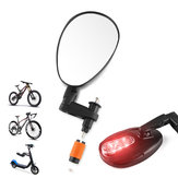 GIYO CX-01 Bicycle Cycling Bike Mirror 360° Rotation Warning Lights Convex Handlebar Safety Mirror