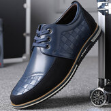 Men Microfiber Leather Splicing Non Slip Soft Business Casual Shoes