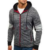 Heren rits kleurblok Hooded Sweatshirt