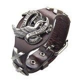 Braccialetto Trendy Unisex Vera Pelle con cinturino in lega Eagle