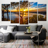 5 Panel Canvas Schilderij Zonsondergang Lake Boom Zeegezicht Landschap Poster Afdrukken Wall Art Decor Foto