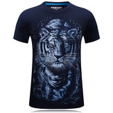 Plus Size Summer Mens 3D Tiger Pattern Printing Causal T-shirt Personality Cotton Short Sleeve Tees