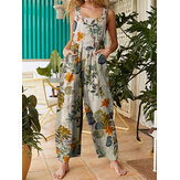Femmes Floral Print Cotton Holiday Casual Jambe large Jumpsuit