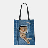 Women Canvas Breaking Hole Denim 3D Cute Cat Dog Pattern Casual Outdoor Handbag Shoulder Bag Tote