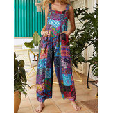 Ethnic Style Floral Printed Button Side Pocket Vintage Jumpsuits For Women