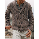 Mens Rib-Knit Button Front Lapel Solid Casual Long Sleeve Cardigans
