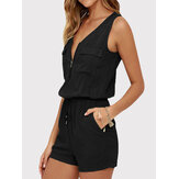 Women Casual V-neck Sleeveless Front Zipper Elastic Waist Outwork Jumpsuit
