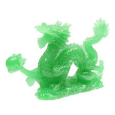 6'' Jade Color Chinese Lucky Feng Shui Dragon Figurine Success Statue Luck