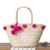 Women Woven Straw Beach Handbag Travel Plush Ball Bag