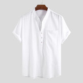 Men 100% Cotton Stand Collar Fresh Casual Plain Loose
