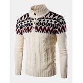 Мужские вязаные теплые вязаные свитера с графикой на пуговицах