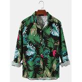 Heren allover plant bedrukt vlas casual losse shirts met lange mouwen
